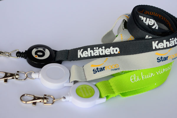 Badge reel lanyards with plastic yoyo