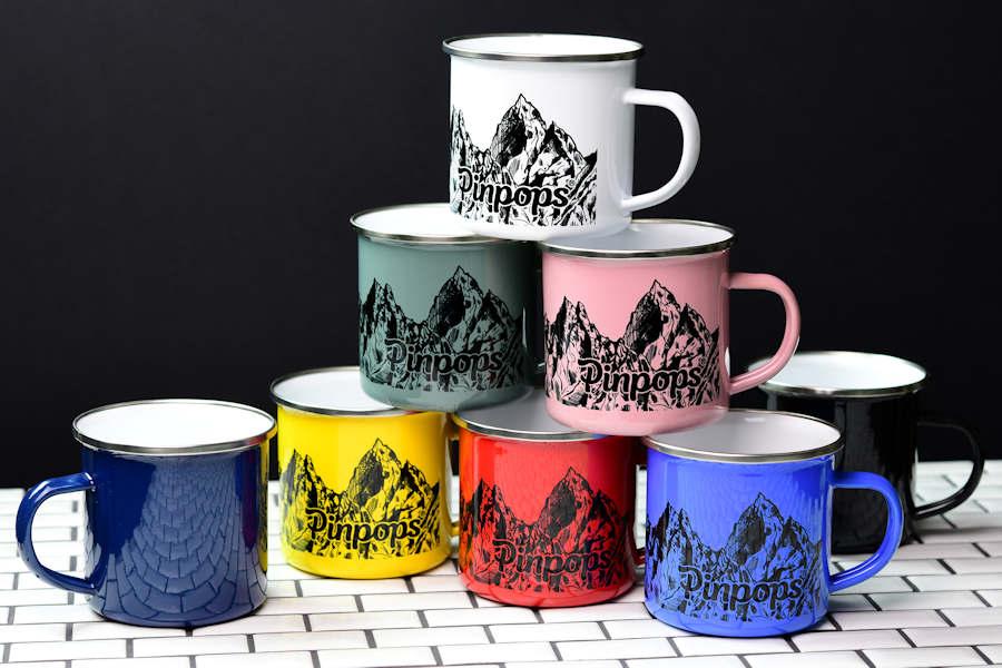 Black custom printing on enamel mugs